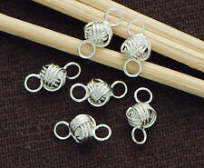 925 Sterling Silver 6 Love Knot  Links, Connectors 5x8 mm.