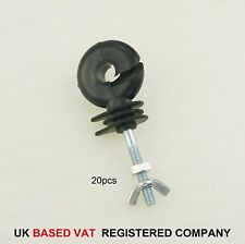 667105 20Pack Heavy Duty Electric Fencing Poly Tape Insulators Fence Screw Bolt