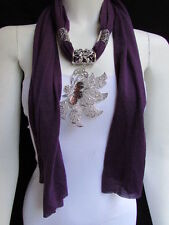 WOMEN PURPLE FABRIC FASHION SCARF LONG NECKLACE BIG SILVER BUTTERFLY PENDANT