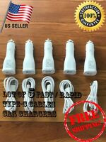 5x LOT OEM Retail Samsung Galaxy S8 Note8  Fast Car Charger+ Type-C Cable