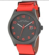 NEW MARC JACOBS MBM5060 JIMMY BRIGHT RED LEATHER GUNMETAL WATCH MSRP $225