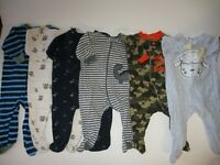 Boys Size 3-6 Months Sleepers Lot  All Zip Up Clothes Lot