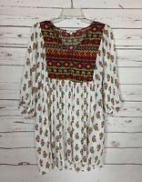 Umgee USA Boutique Women's S Small White Boho 3/4 Sleeves Fall Tunic Top Blouse