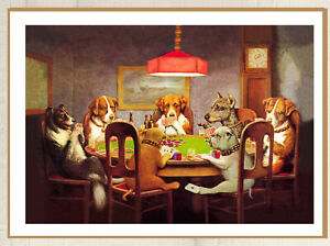Dogs Playing Poker  Huge Vintage Canvas Wall Art Print not Poster Australia