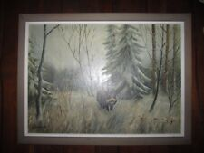 Signed A.Zerbe 70 ? german artist Oil Painting with Wild boar in the forest