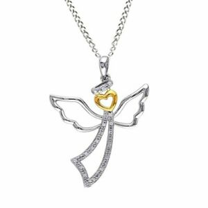 """1/10 Ct Real Diamond 10K Two Tone Gold Finish Angel Heart Pendant 18"""" Rope Chain"""