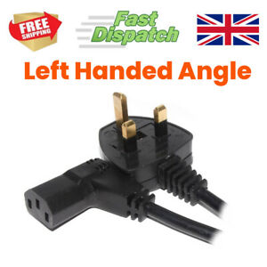 Power Cord UK Plug to Right Angled IEC C13 Cable kettle LEFT or RIGHT Hand Angle