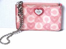 Coach Waverly Heart Wallet Mini ID Skinny Case Coin Heart Print Chain Pink