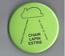 "1980s Rabbit Producers Estrie Canada 2.25"" Advertising Pinback Button Lapin Farm"