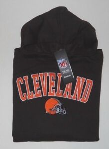 CLEVELAND BROWNS REEBOK PULLOVER HOODED SWEATSHIRT YOUTH SZ MED(10-12)-BROWN-NWT