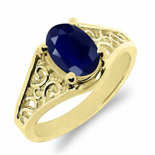 Solitaire Sapphire Yellow Gold 14k Fine Rings