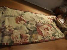 """Gold Floral Valance cabbage roses & stripes 100wX14"""" Paprika Red Green"""