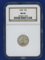 1944 P NGC MS66 Mercury Dime 10c US Mint 1944-P NGC MS-66