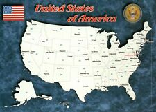 Map of the United States of America, Texas California Florida etc - Map Postcard