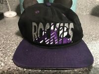 VTG 90s MLB Colorado Rockies Script Logo Black Purple Snapback Hat Made IN USA