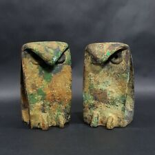 1950s Japan Iron Owl Sculpture Noguchi Era Midcentury Modern Brutalist Bookends