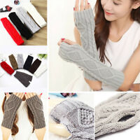 Women Mens Knit Crochet Long Fingerless Winter Gloves Arm Warmer Mitten Fashion