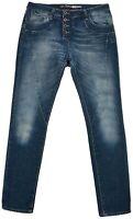 Please Women's Jeans Denim Pants Boot Cut Blue Cotton Pocket Button Zip Size S