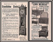 AD LOT OF 2 1902 - 1905 ADS LINN MURRAY GRAND RAPIDS FURNITURE COLONIAL CLOCKS