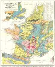FRANCE. Belgium & Netherlands geological c1885 old antique map plan chart