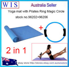 2 in 1 EVA Yoga Mat Non-slip Yoga Mat 6mm with Pilates Ring Magic Circle,BLUE