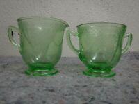 Vintage Green Depression Glass Sugar and Creamer-Georgian Pattern, Love Birds
