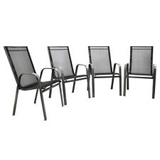 4er Set Gartenstuhl Stapelstuhl Hochlehner Rahmen dunkelgrau Textilene schwarz