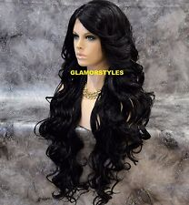 """40"""" Long Wavy Layered Off Black Full Lace Front Wig Heat Ok Hair piece #1B NWT"""