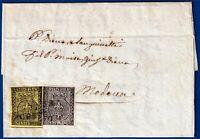 1853 - Lettera da Parma a Modena - Affrancatura multipla bicolore
