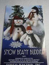 "Snow Beany Buddies 8"" 10"" 12"" Shaggy Plush Felt Snowmen Sewing Craft Pattern"