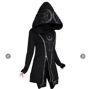 Women Moon Gothic Witch Hoodie Hooded Sweatshirt Long Sleeve Pullover Medium m
