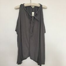Deletta Anthropologie Tunic Top Womens M L Knit Jersey Cold Shoulder V-Neck Gray