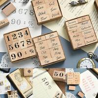 New DIY Week Month Number Wooden Stamp Set Craft