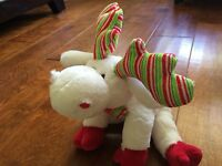 rare Webkinz Minty Moose Plush Only No Code Ganz White Soft Green Red