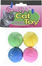 "Scruffy's 1.5"" Foam Sponge Ball Fun & Exercise Cat Toy 4 Pack Boss Pet 04467"