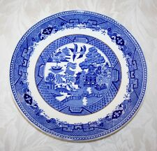 "VINTAGE VICTORIA PORCELAIN WILLOW PATTERN GILDED 9 1/4"" DINNER PLATE"