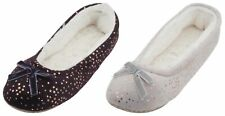 Slumberzzz Ladies Soft Velour Star Printed Ballet Slippers
