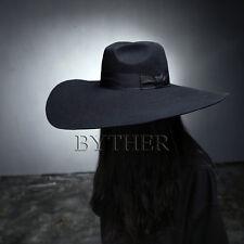 ByTheR Unisex Modern Chic Classic Floppy Wide Brim 100% Wool Fedora Witch Hat UK