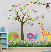 Jungle Animals Monkey Owl Tree Wall Stickers Kids Art Decor Mural Decal Nursery