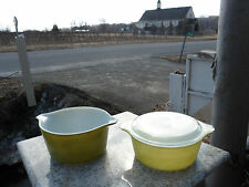 Lot of 2 Vintage Avocado & Lime Green Small Glass Pyrex Casserole Dish w/ Lid