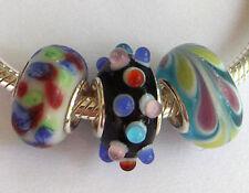 3 x Beads Sterlingsilber und Glasperle *** AUS ECHTEM SILBER und Glas, bunt