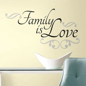 FAMILY IS LOVE WALL DECALS New Black Silver Quote Room Stickers Quotes Decor