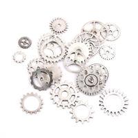 20Pcs Tibetan Silver Mixed Gear Pendants Steampunk Charms Jewelry Findings