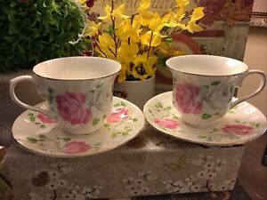 (2) Gracie's Teaware~Cup & Saucers~White/Pink Roses~Tea For 2~FREE SHIP~NICE!