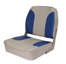 Quality Folding White/Blue Boat Helm Seat - Speed Boat Fishing - New - Low Back