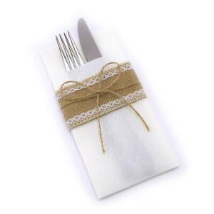 Bestecktaschen mit Natur Schleife Weiss Servietten Tischdeko Deko Vintage