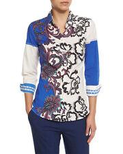 Etro Paisley-Print Long-Sleeve Blouse, Blue/White Orig $460.00 size 44IT/10US