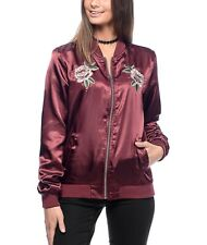 Retro Empyre Kevia Burgundy Red Satin Embroidered Floral Roses Bomber Jacket S