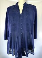 Coldwater Creek Navy Blue Embroidered Eyelet Pin-tucked Top Medium 3/4 Sleeves