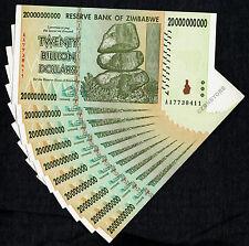 10 x 20 Billion Zimbabwe Dollars Banknotes AA 2008 10PCS Lot Almost Uncirculated
